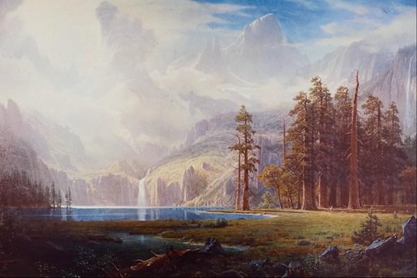 野外 湖边 早晨 风景油画-国外传世名画-国外传世名画,风景油画