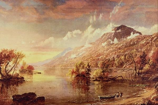 国外传世名画-风景油画 云雾 小船 杂树 河边 人物