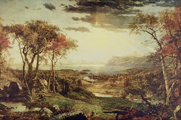 油画色调 野外 阳光透过云层 风景油画-国外传世名画-国外传世名画