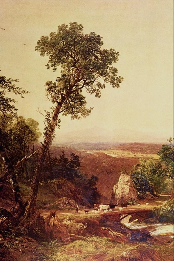 小树 乡村景色 风景油画-国外传世名画-国外传世名画,风景油画