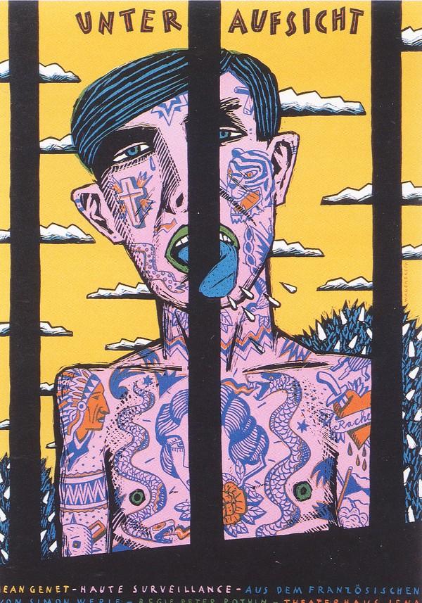 铁窗 坐牢 流氓 坏蛋 舌头 变异 不知悔改 彩绘 海报 POP 招贴 宣传画