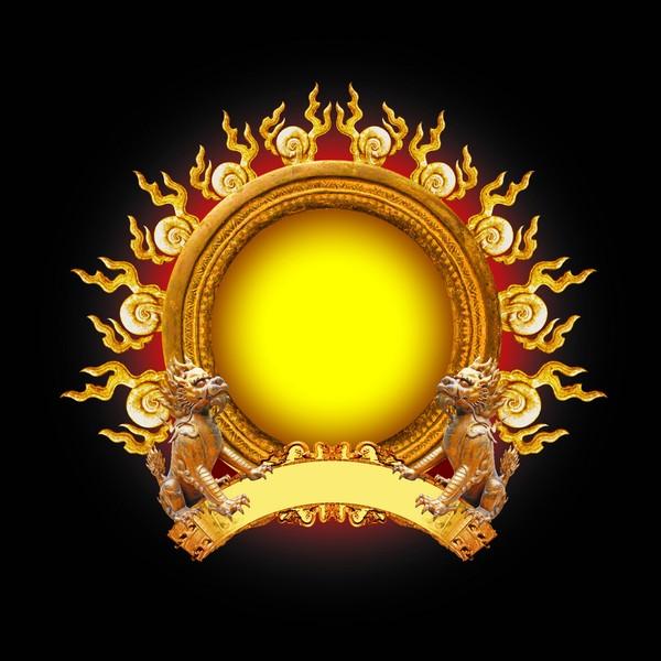 古典边框图片-设计组件素材图 火球 黄圆 狮子,设计组件素材,古典边框