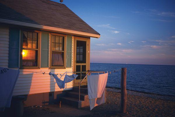 海边 凉晒 衣服 时尚房屋-建筑-建筑,时尚房屋