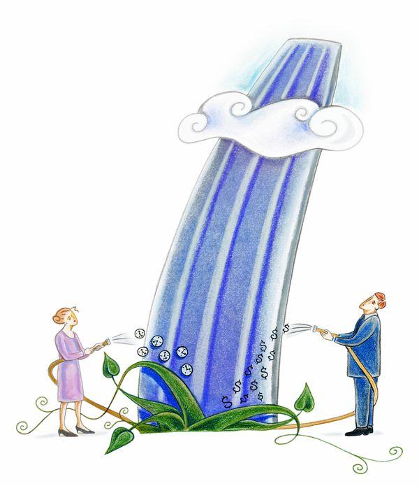 生意插画图片 商业情景图 云朵 植物 浇水,商业情景,生意插...