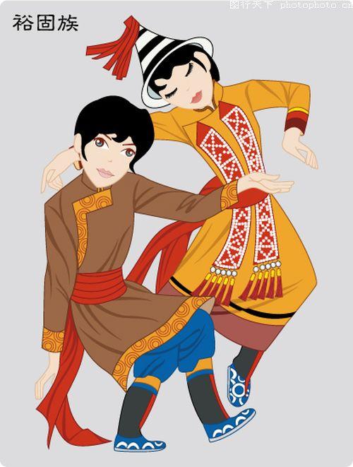 中国五十六个民族图片-时尚矢量插画图