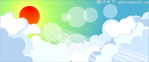 红太阳 云层 光圈 夏天-时尚矢量插画-时尚矢量插画,夏天