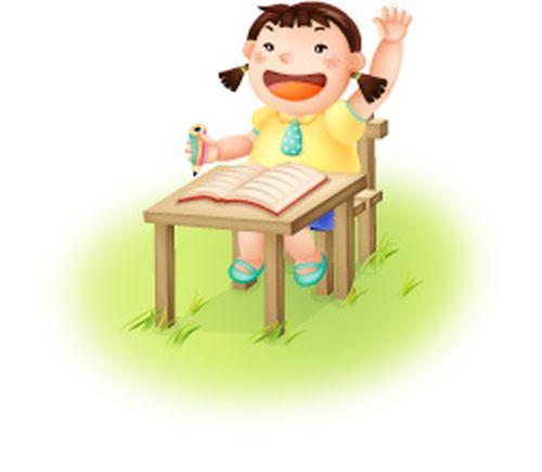 课桌 举手 小孩-时尚矢量插画-时尚矢量插画,小孩