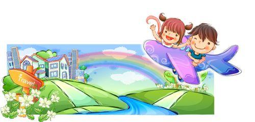 小孩图片-时尚矢量插画图 卡通