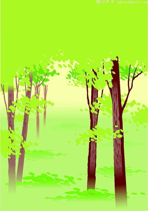树林 春天 生机 矢量背景-时尚矢量插画-时尚矢量