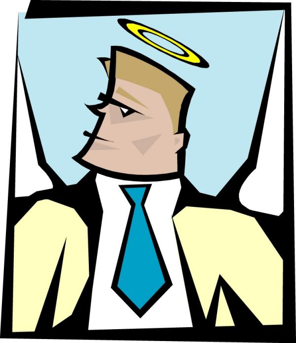 头顶的光环 蓝色领带 近代宗教-插画-插画类