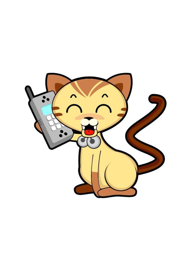 小猫 图画 可爱 动物插图-动物-饮食水果,动物插图
