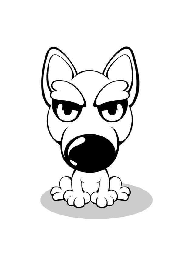 卡通狗 黑白画 蹲坐 动物插图-动物-饮食水果,动物插图
