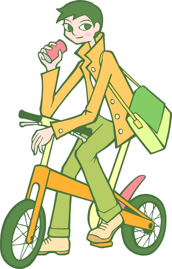 时尚女性图片 标题插画图 大学生 可乐 易拉罐