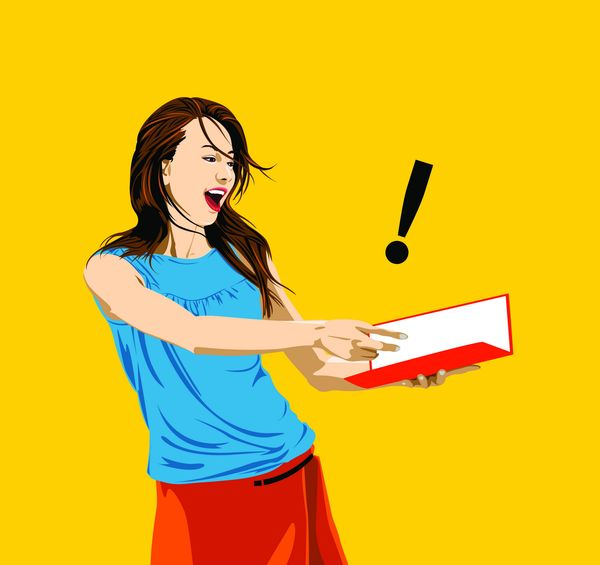 流行时尚图片 标题插画图 感叹号 书本 女人