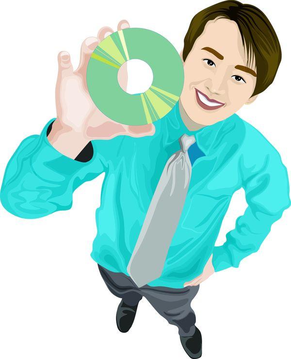 标题插画-人物休闲 推销员 光碟 音像制品 业务员 销售