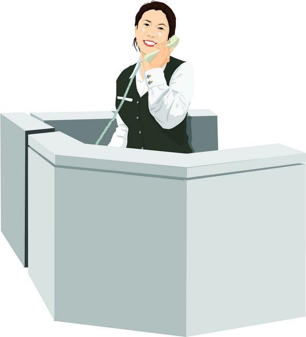 办公 工作台 接电话 上班一族-标题插画-标题插画篇,上班一族