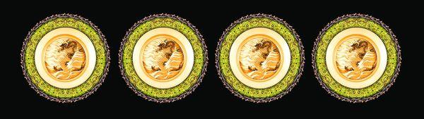 古建瑰宝-古建边框 古代盘子 绿色圆框 精美雕花