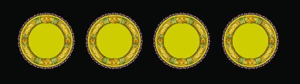 雅致盘子 青绿色调 古典花纹 古建边框-古建瑰宝-古建瑰宝篇,古建边框
