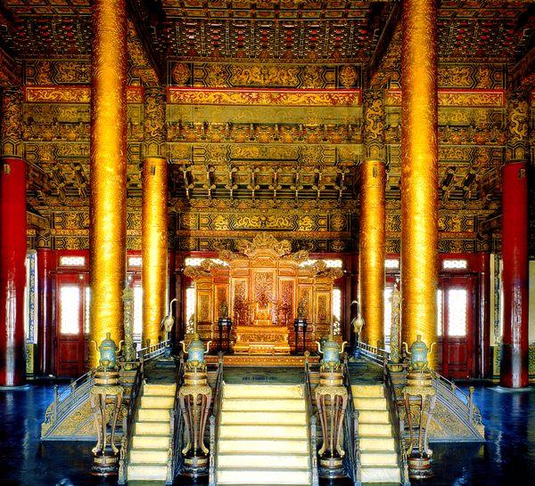 首都风光-历史胜地-太和殿内景 皇宫 宫殿 皇位图片